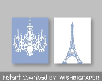 Eiffel Tower Chandelier Prints Set of Two (2)-Instant Download.Paris.French.Wall Art.Decor Baby Girl Room Nursery.Girls room.Blue Art