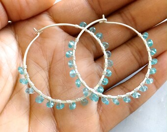 Large Aquamarine Gemstone Hoop Earrings. Sterling Silver Hand Hammered Large Round Blue Hoop Earrings.