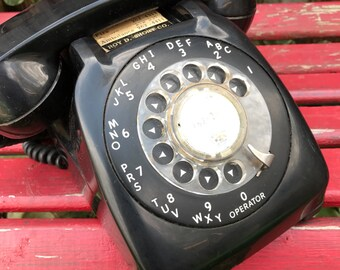 Vintage 1950s Era Black Rotary  Telephone Desk Phone Unique Shape