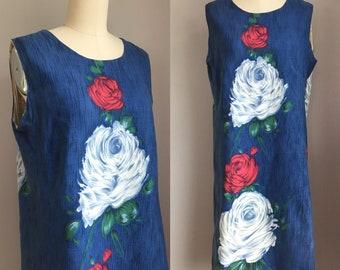 Vintage 1960's Cotton Cabbage Roses Shift Dress Size Medium