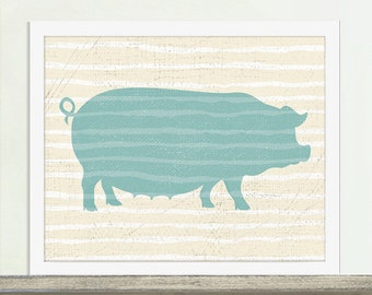 Animal Series, Pig Art, Kitchen Art, Kitchen Poster, Custom Colors Available