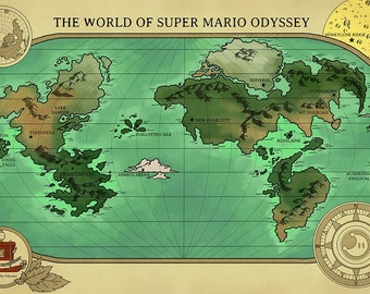 Super mario poster etsy a map of super mario odysseys world gumiabroncs Gallery