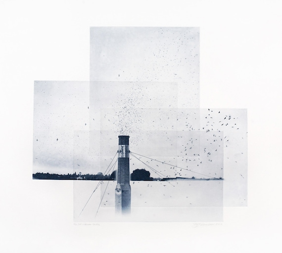 Portland Fine Art - Original Art - Photographic Etching - Art Print - Photography - Oregon - Photogravure - Photo Collage - Chapman Swifts