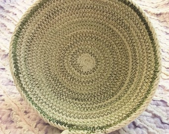 Small clothesline rope bowl in green variegated thread