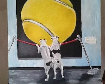 Jack Russell Terrier in museum