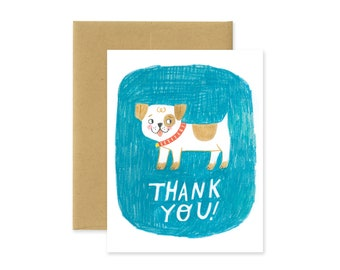 Thank You Dog Illustrated Greeting Card • Cute Stationery • Hand drawn • Funky Type • Hand Lettering