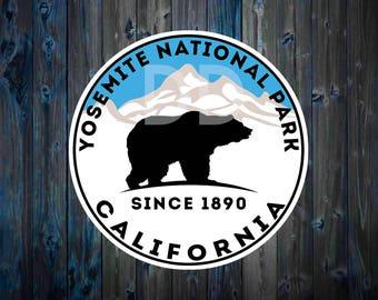 "YOSEMITE NATIONAL PARK California Vinyl Sticker Bear Mountain Hiking Camping Climbing Decal 3"" X 3"""