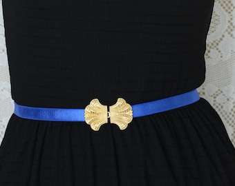 Bridesmaids Belt - Blue Belt - Waist Belt - Gold Belt - Dress Belt - Skinny Belt - Stretchy Belt - something Blue - Bridal belt - jeweled