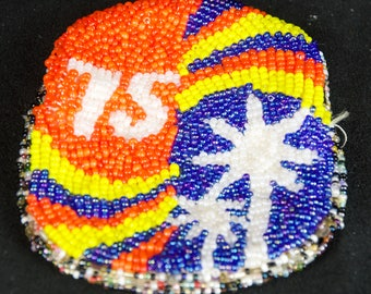 Vintage 1975 Beaded Coin Purse Orange Blue White Trees Hippy Native American