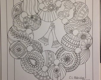 Christmas Bells, Ornament Wreath - Coloring Page - Instant Download