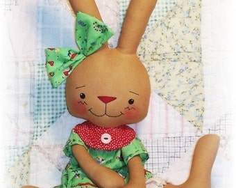 Soft Bunny Rabbit Pattern, Softie Pattern, Whimsy Doll, Cloth Doll, Rag Doll, PDF sewing Pattern, primitive doll, stuffed animal pattern
