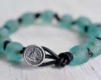 recycled glass bead ship wax seal boho bracelet... such is life - eco friendly wax seal jewelry
