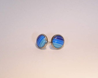 Small Blue Ombre Striped Cabochon Button Style Stud Earrings 10mm Kawaii Blue and White Stripe Stud Earrings Small Blue Stud Earrings