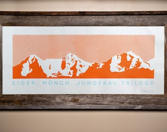 Eiger, Mönch, Jungfrau Trilogy silkscreen prints - Swiss Alps