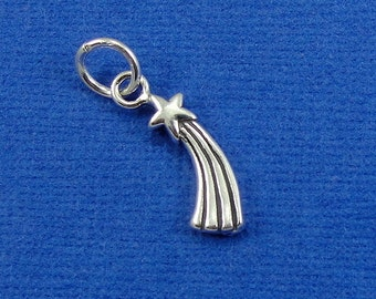 Shooting Star Charm - Sterling Silver Shooting Star Charm for Necklace or Bracelet
