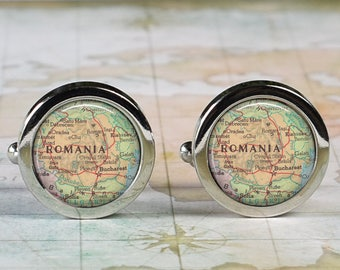 Romania cuff links, Romania map cufflinks wedding gift anniversary gift for groom map cuff links groomsmen best man Father's Day gift