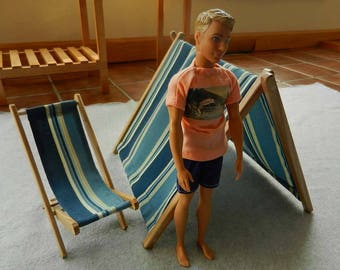 Barbie, Ken or Stuffed Animal Striped Pup Tent and Matching Sling Chair