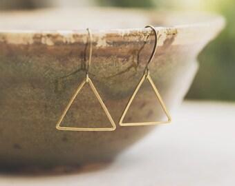 Raw Brass Earrings, Triangle Jewelry, Boho Dangle Earrings, wear everyday, best friend gift, brass geometric earring, minimalist jewelry