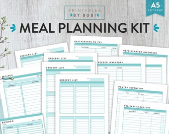 Meal Planner Kit - A5 Weekly Meal Planning Printable - Menu Planner Printable - Menu Planning Pages - Printable Planner A5 Turquoise