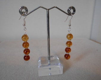 Silver plated Tourmaline Drop Earrings - Amber colour