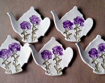 Five Ceramic Tea bag Holders teapot shaped spoon rest teabag holder