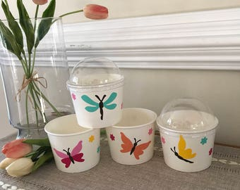 Butterfly Party, Birthday, Baby Shower, Snack Cups, Ice Cream Cup, Popcorn Cup, Hot Cold Cup, 12 oz Snack Cup, Sets of 8, 10, 12, 15, and 25