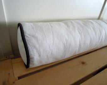Weiß und grau stärken Kissenbezug, 6 x 26, oder Nackenrolle aus Leinen Kissen-Abdeckung, weiß Bolster, weiß und grau Bolster, bereit zu versenden