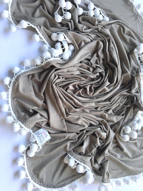 Winter Stone Pom Swaddle Blanket
