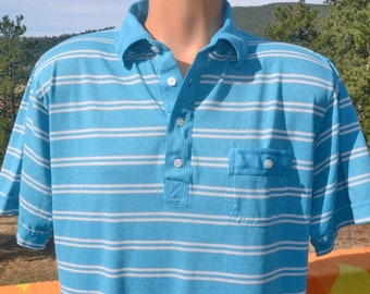 vintage 70s golf polo shirt FASHION BAR stripe white teal blue soft thin Large XL preppy 80s colorado