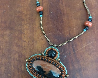 Bead Embroidered Necklace with Petrified Wood