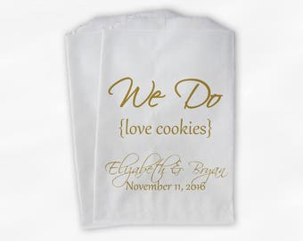 We Do Love Cookies Buffet Bags - Custom Favor Bags for Wedding, Birthday, Shower - Gold Paper Treat Bags (0063)