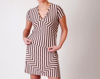 Stripe dress, V neck dress, geometric dress, pastel dress, upcycled dress, eco friendly dress, chevron dress, triangle dress, brown pink