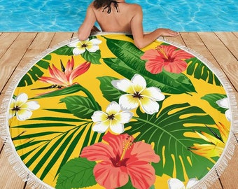 Tropical Flowers/Yellow/Tropical Print/Blanket/Blankets/Beach/Pool/Throw/Picnic/Towel/Round/Tablecloth/Gift