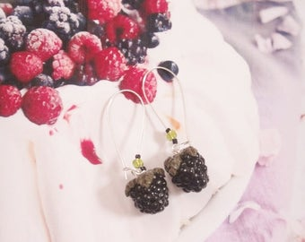 earrings blackberries polymer clay