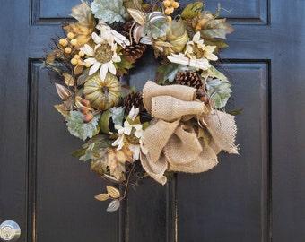 burlap bow wreath, sunflower, fall, harvest wreath, pumpkin wreath,