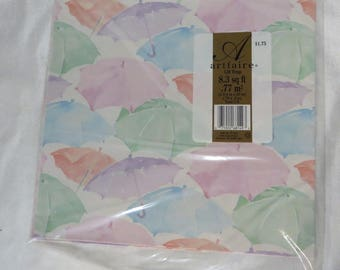 Vintage 80s Wrapping Paper Baby Shower New Sealed Pastel Umbrellas Gift Wrap