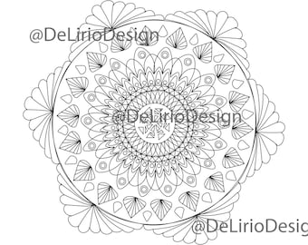 Mandala Flower coloring pages for adults. Hand Drawn Adult Coloring Page Print. Download
