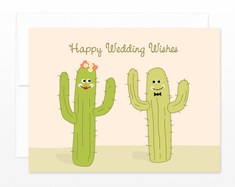 Cute Wedding Card, Cactus Wedding Greeting Card,  Happy Couple Wedding Wishes, Desert wedding card, botanical wedding card, Funny Wedding