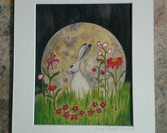 Amongst The Flowers mixed media hare print