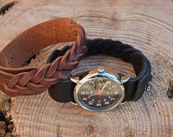 Braided Leather Watch bands, Horween Leather Watchband, SB Foot Leather Watchband, Copper Rough & Tough Watchband, Chromexcel Watch Strap