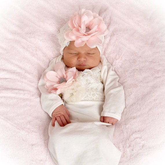 Newborn Girl Take Home Outfit Ivory Layette Gown Cap with