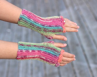 Soft wristwarmers, knit fingerless gloves, size Small, office gloves, warm wool mittens, snug driving gloves