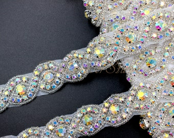 Crystal AB Rhinestone Trim, Bridal Sash Trim, Wedding Belt Trim, Crystal Beaded Trim, 1 Yard / 36 inches, Bridal Accessories