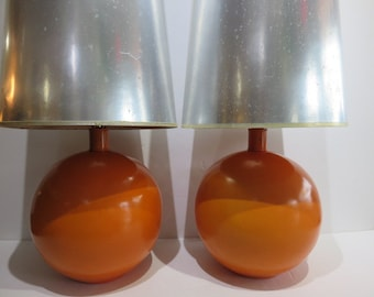 """Pair Of Mid-Century Modern Lamps With Tall Silver Shades, Overall Height 41.5"""" Tall."""