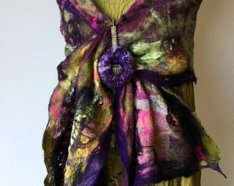 Nuno felt scarves -  shawl - silk & wool Collage - gift for her  -  purple green pink lagenlook - ready to ship Art to Wear
