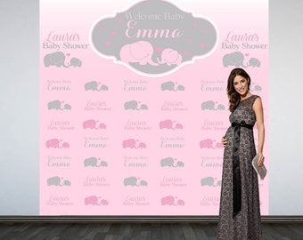 Baby Elephant Baby Shower Backdrop- Photo Booth Backdrop- Pink Elephant Baby Shower Backdrop, Custom Backdrop, Party Backdrop