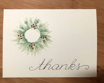 Christmas themed Thank You cards, Christmas wreath, embossed silver Thanks 8 pack