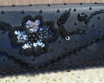 """SATIN Sequin EVENING Clutch, Envelope Style, BLACK with Beads/Sequins, Handmade, 8"""" x 4"""" (#745)"""