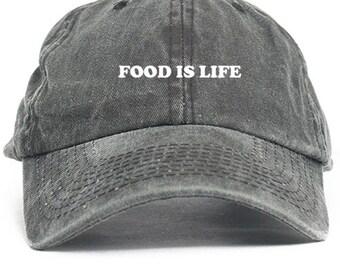 Food Is Life. Unstructured Custom Dad Hat in Black Denim- Brand New