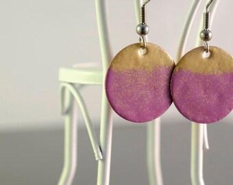 purple & gold small circle enamel earrings